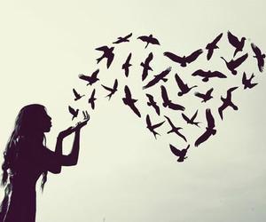 bird, girl, and heart image