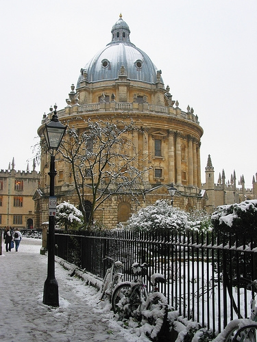 archive, radcliffe camera, and winter landscape image