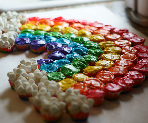 rainbow, cupcake, and colors image