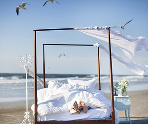 beach, bed, and love image