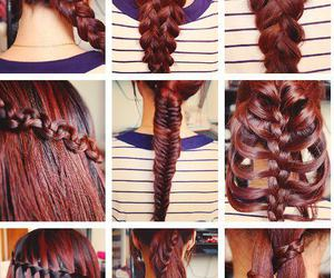 colores, trenza, and hair red image