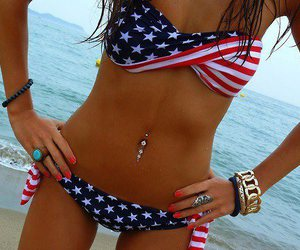 american flag, blue, and girl image