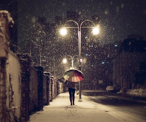 light, snow, and street image