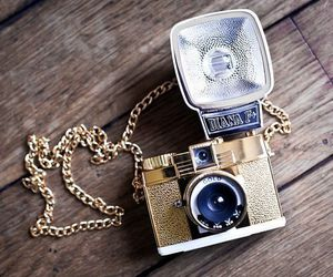 camera, necklace, and gold image