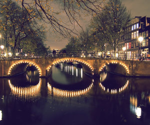 amsterdam, bridge, and lights image