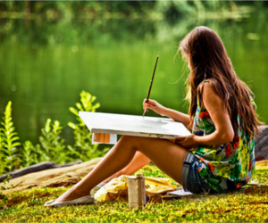 girl, painting, and paint image