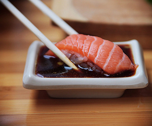 food, sushi, and salmon image