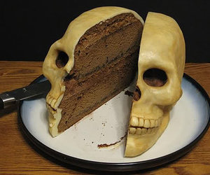 cake, skull, and food image