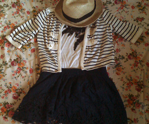 cardigan, stipes, and straw image