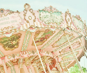 pink, carousel, and vintage image