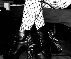 shoes, black and white, and heels image
