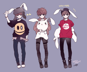 boys, bunnies, and style image