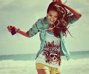 girl, music, and beach image