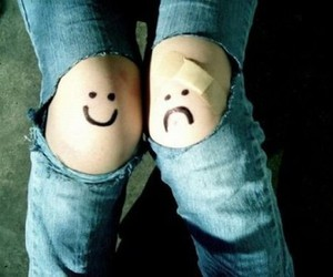 sad, happy, and jeans image