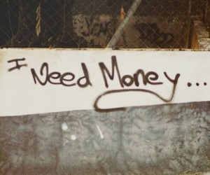 money, need, and wall image