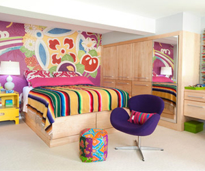 bed, colorful, and decor image