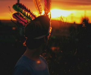 boy, feather, and hipster image