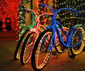 light, bike, and christmas image