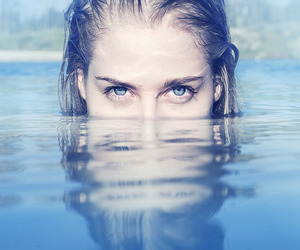eyes, girl, and water image