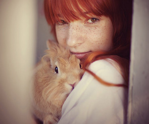 redhead, freckles, and rabbit image