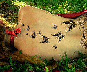 tattoo, butterfly, and music image