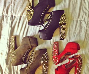 shoes, black, and red image