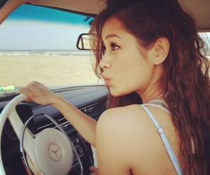 girl, beach, and car image
