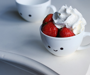 strawberry, food, and cup image