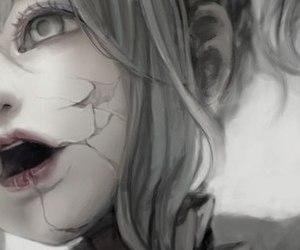 anime, random, and black and white image