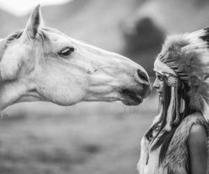horse, girl, and indian image