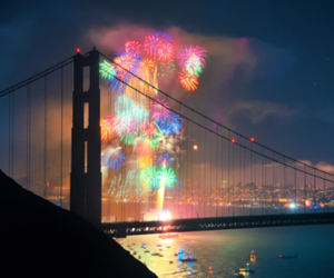 fireworks, bridge, and night image