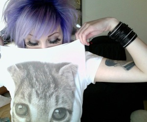 cat, dyed hair, and girl image