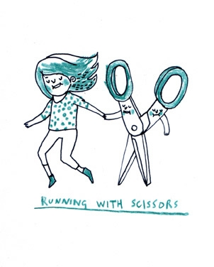 drawing, girl, and scissors image
