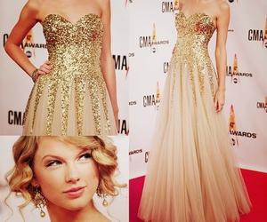 Taylor Swift, dress, and gold image