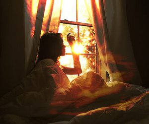 girl, window, and sun image