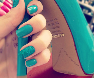 nails, shoes, and blue image