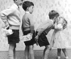 kiss, boy, and black and white image