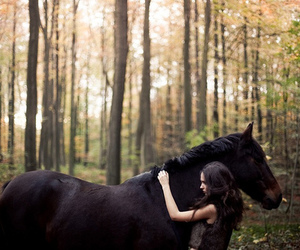horse, girl, and nature image