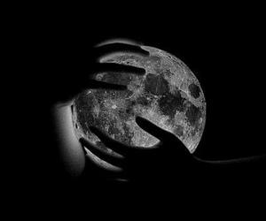 black and white, hands, and moon image
