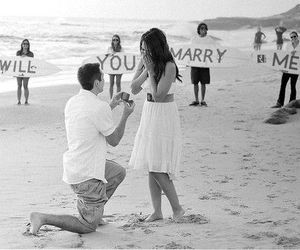beach, marry me, and proposal image