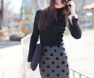 pencil skirt and polka dot image