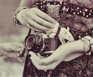 black and white, hands, and camera image
