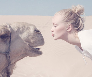 camel, girl, and desert image