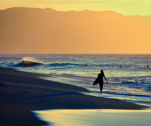 beach, girl, and surfing image