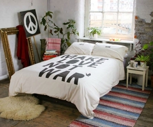 bed, peace, and bedroom image