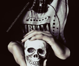 black and white, nirvana, and skull image