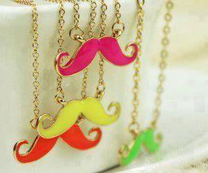 mustache, pink, and necklace image