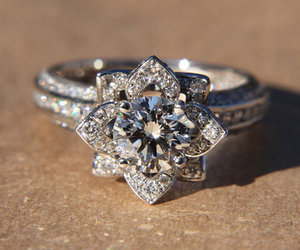 ring, diamond, and flower image