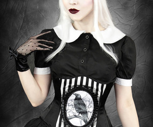 corset, gothic, and raven image