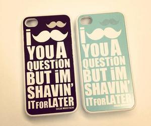 iphone, mustache, and moustache image